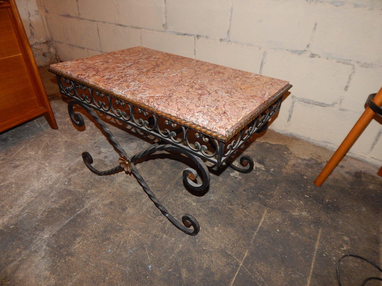 vintage couchtisch aus schmiedeeisen marmor 1930er bei. Black Bedroom Furniture Sets. Home Design Ideas