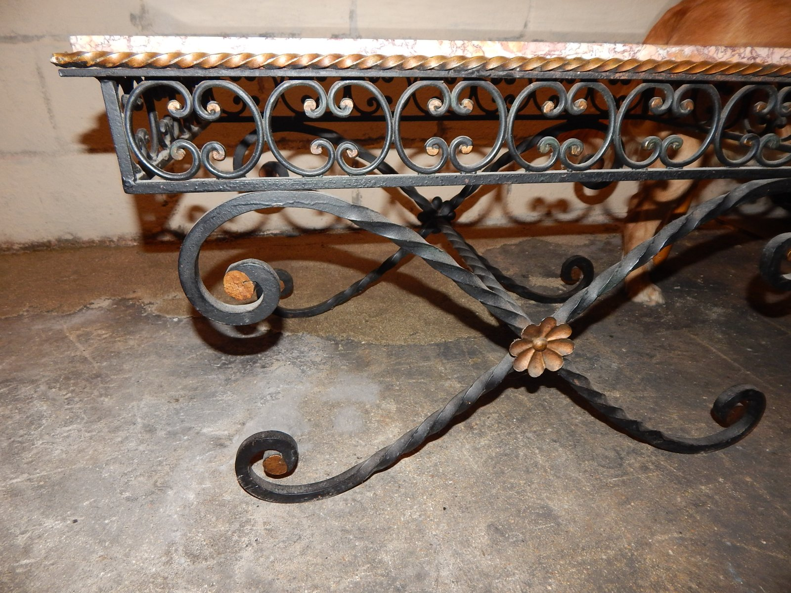 Vintage wrought iron marble coffee table 1930s for sale for Wrought iron coffee table for sale