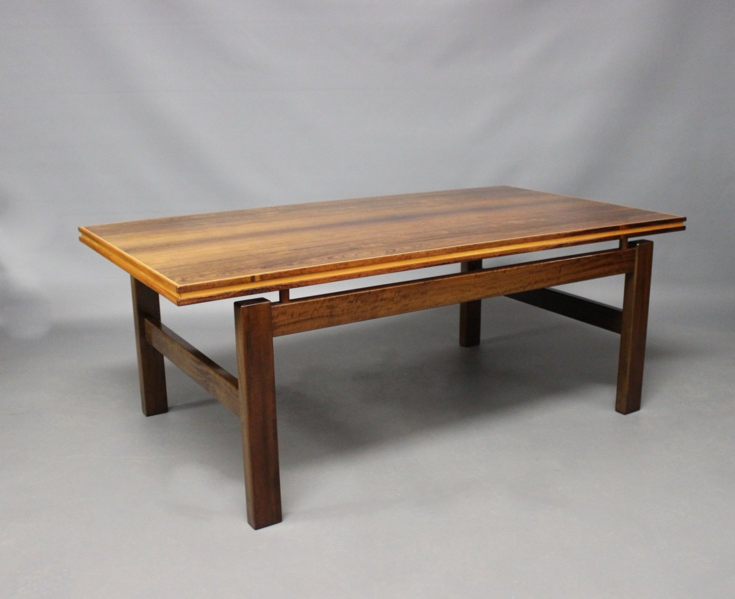 Attractive Danish Rosewood Coffee Table With Floating Top, 1960s