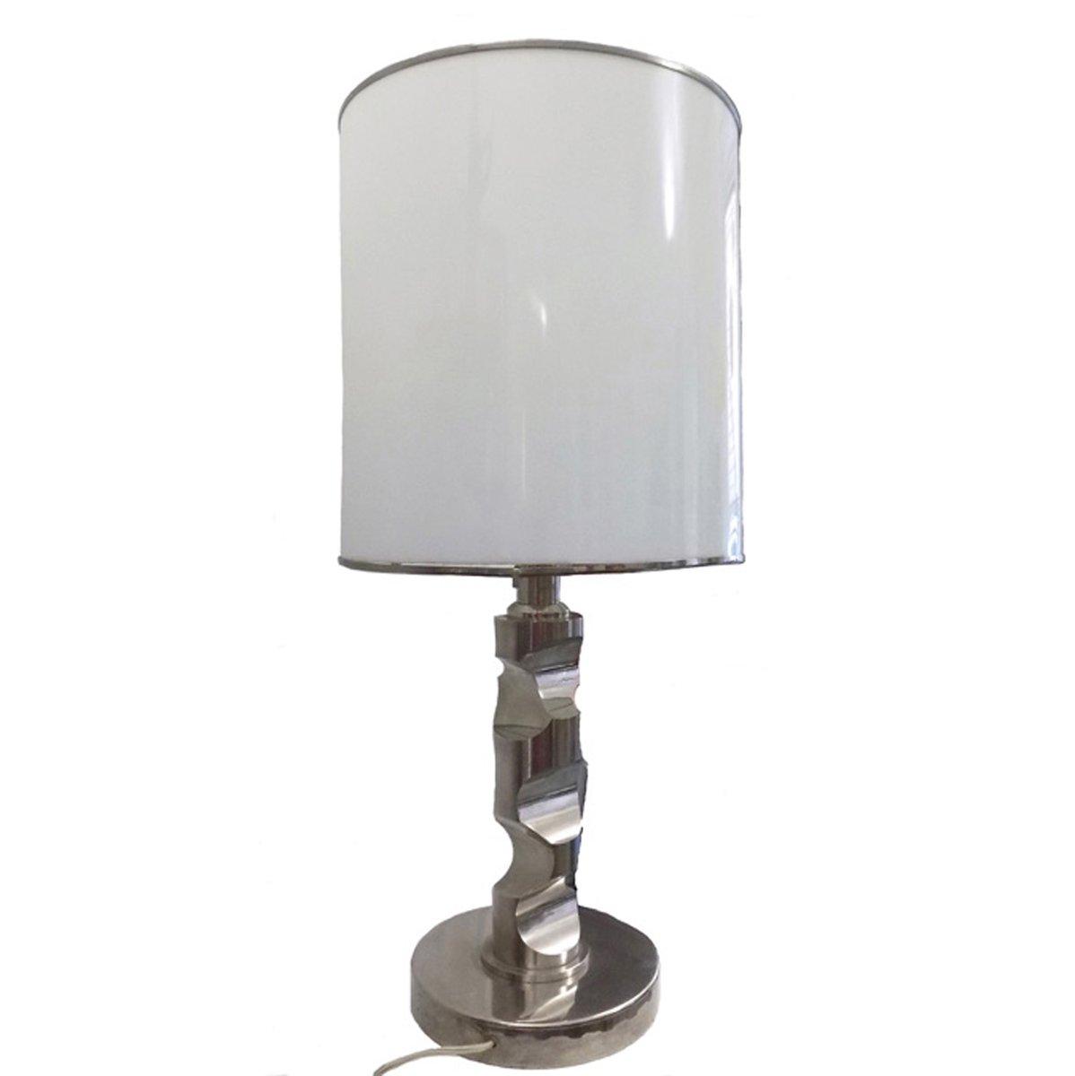 verchromte stahl lampe mit schirm 1970er bei pamono kaufen. Black Bedroom Furniture Sets. Home Design Ideas