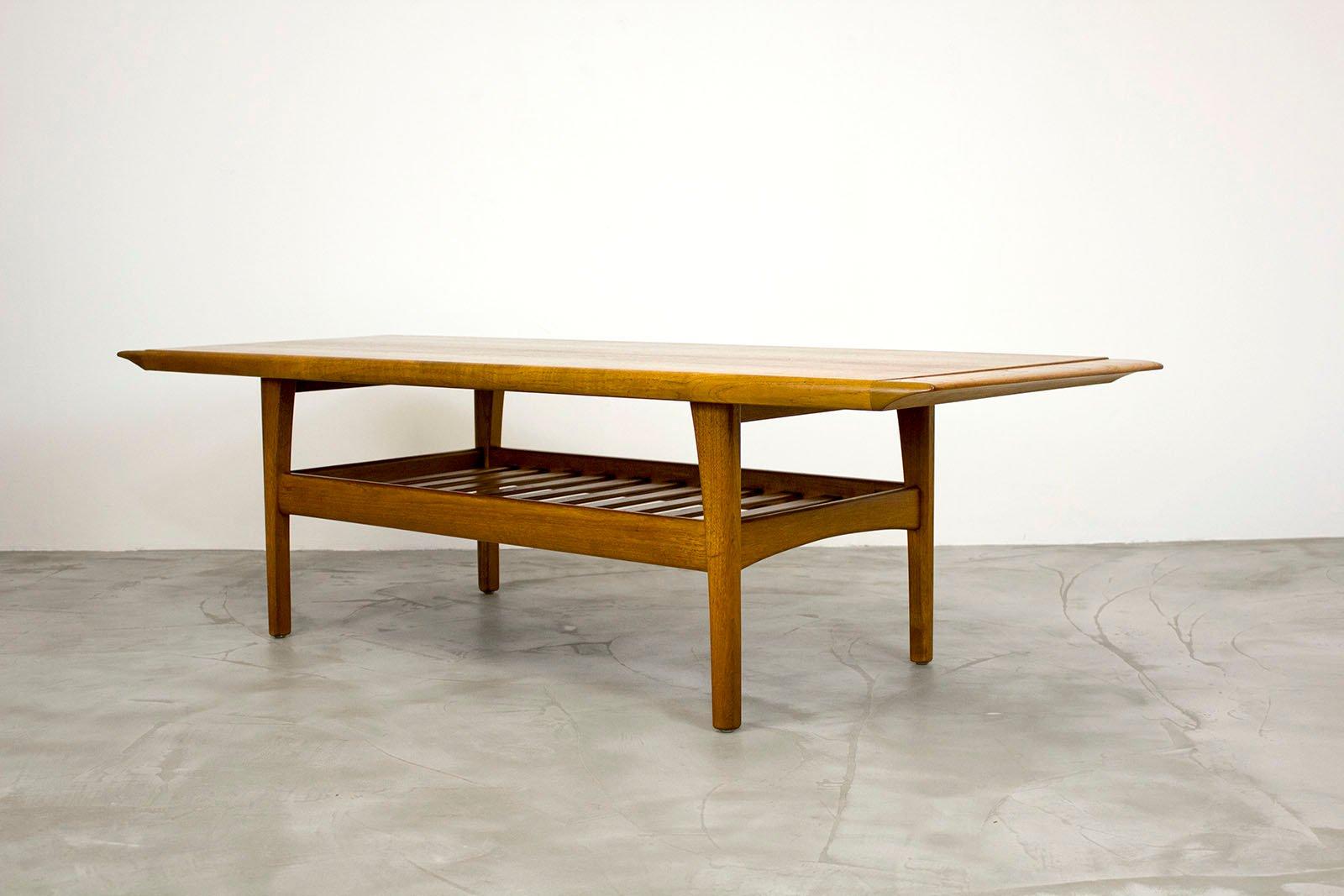 teak coffee table. Danish Teak Coffee Table With Magazine Shelf, 1960s K