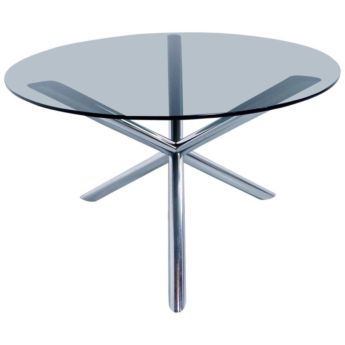 Dining Table in Chrome and Smoked Glass by Roche Bobois, 1970s for ...