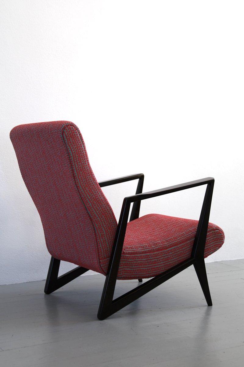 italienischer mid century sessel aus buche stoff bei pamono kaufen. Black Bedroom Furniture Sets. Home Design Ideas