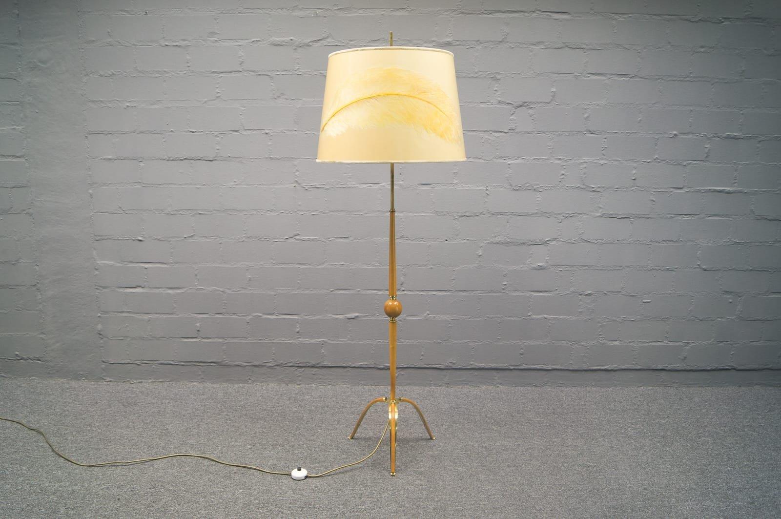 Mid-Century Ostrich, Pinna Teak, and Brass Tripod Floor Lamp, 1950s ...