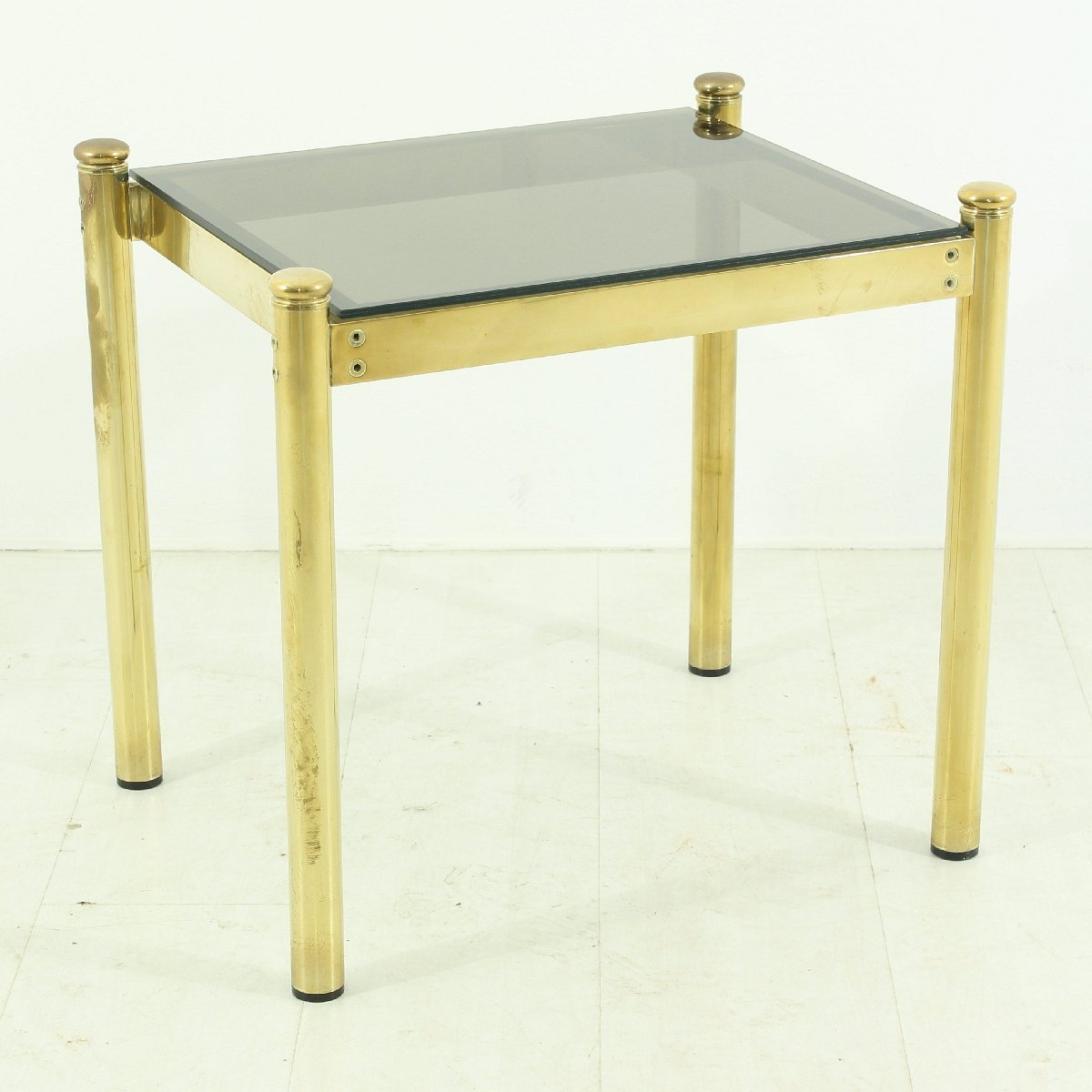 Vintage Brass Coffee Table With Smoked Glass Top For Sale
