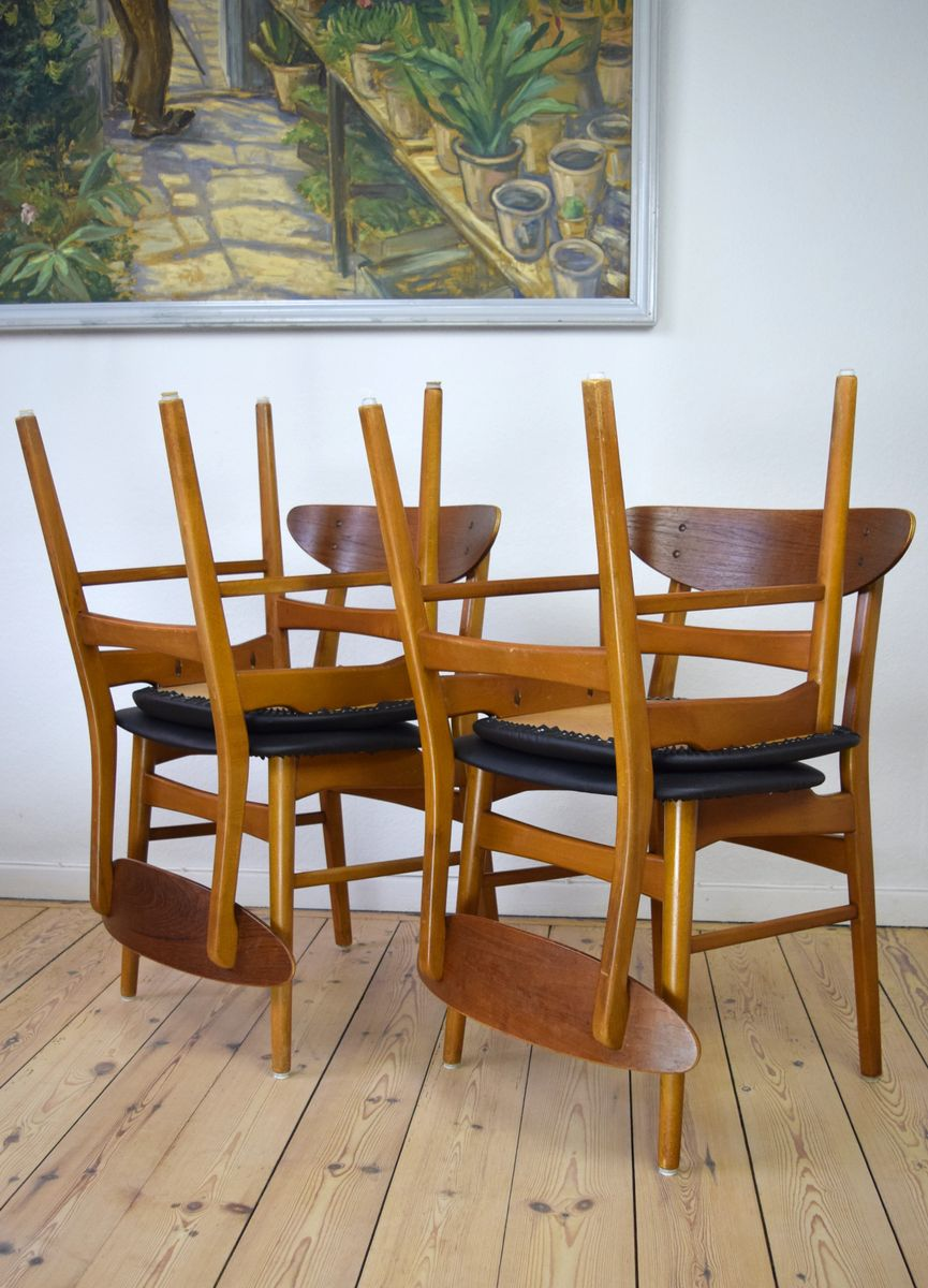 Danish Teak Beech Dining Chairs 1960s Set Of 4 For Sale At Pamono