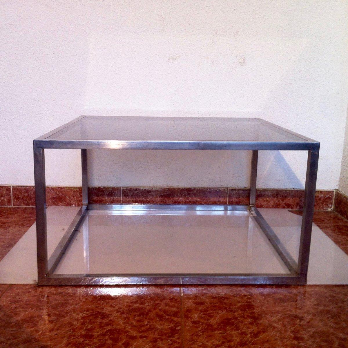 viereckiger vintage couchtisch aus rauchglas aluminium 1960er bei pamono kaufen. Black Bedroom Furniture Sets. Home Design Ideas