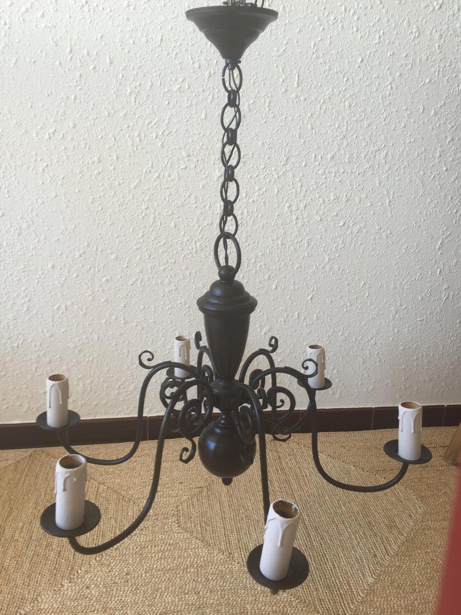 schwarzer niederl ndischer vintage kronleuchter mit sechs armen bei pamono kaufen. Black Bedroom Furniture Sets. Home Design Ideas