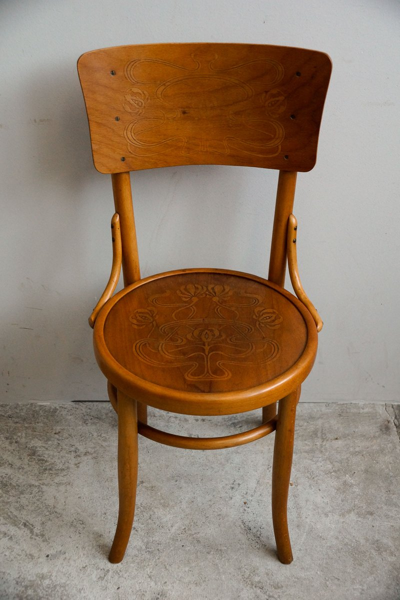 Antique Bentwood Chairs from Möbel & Furnier Fabrik AG, 1910s, Set of 4 - Antique Bentwood Chairs From Möbel & Furnier Fabrik AG, 1910s, Set