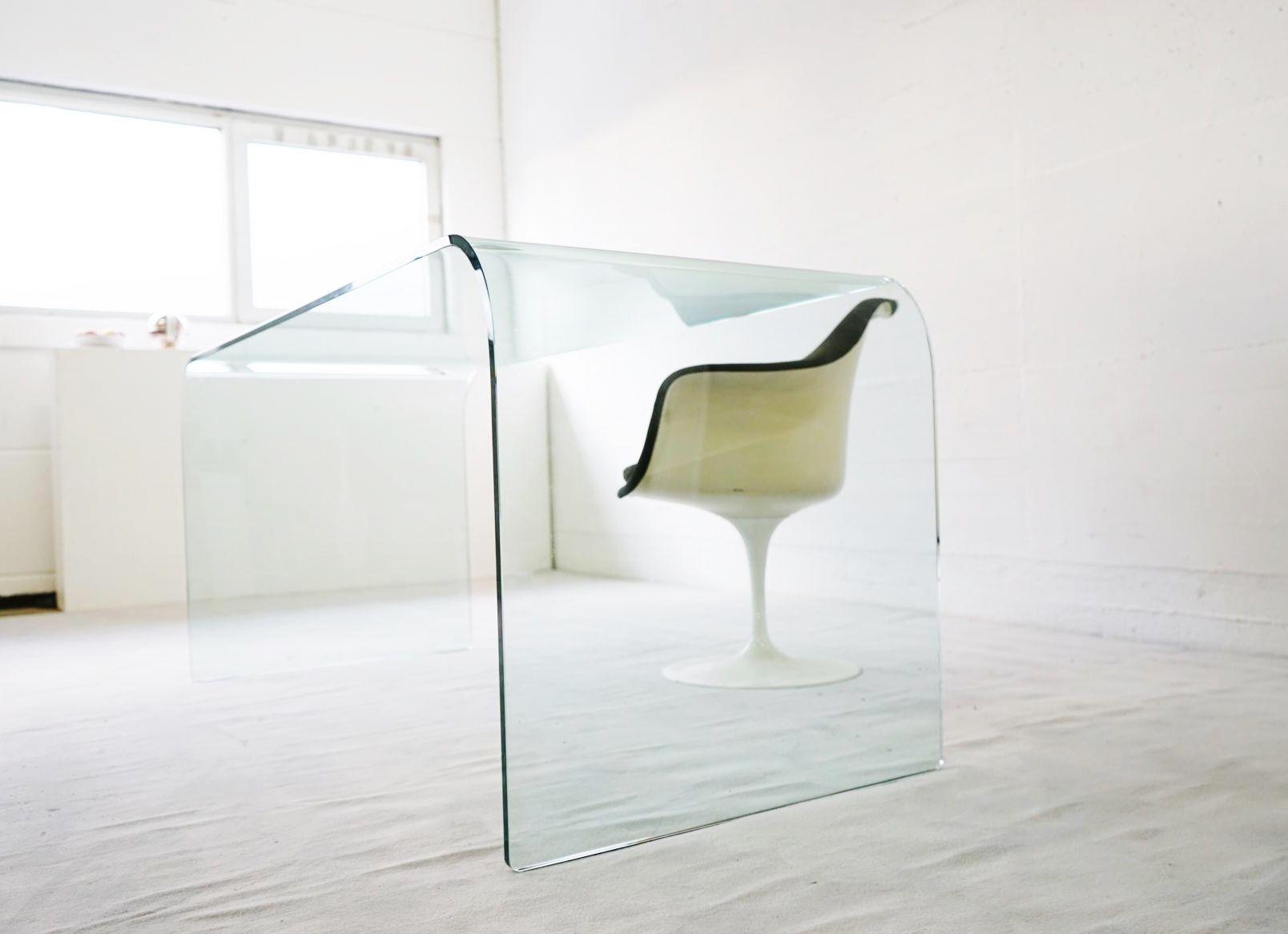 vintage foglio schreibtisch aus glas von fiam bei pamono. Black Bedroom Furniture Sets. Home Design Ideas