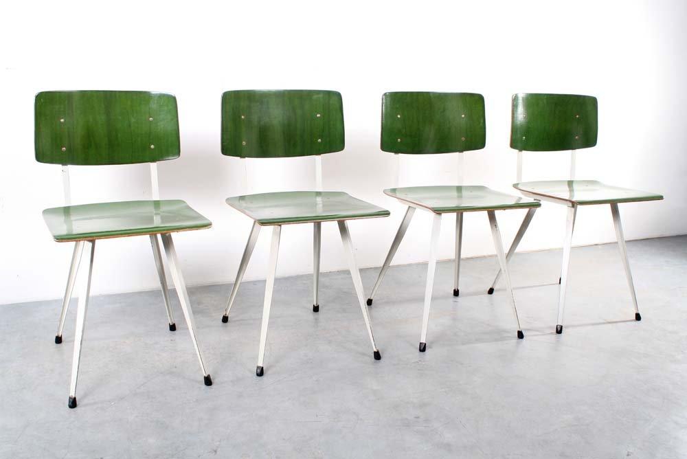 Green German School Chairs, Set Of 4