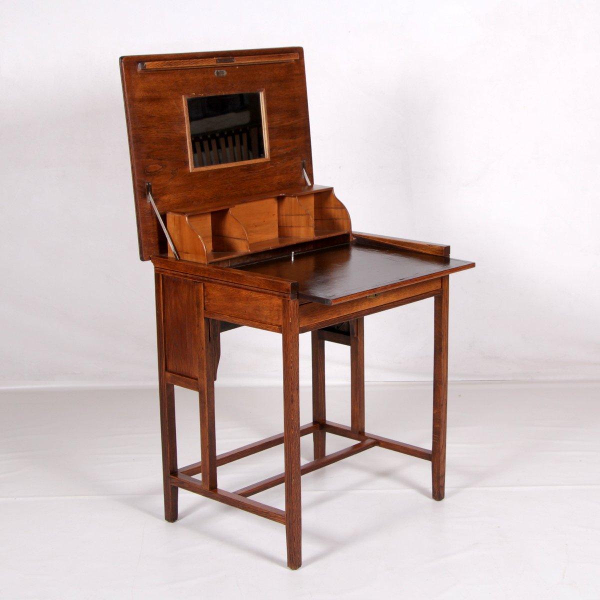 eichenholz sekret r der marke klappauf 1890er bei pamono. Black Bedroom Furniture Sets. Home Design Ideas