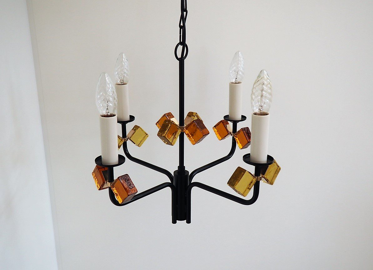 Mid century danish black iron colored glass chandelier from holm mid century danish black iron colored glass chandelier from holm srensen aloadofball Choice Image