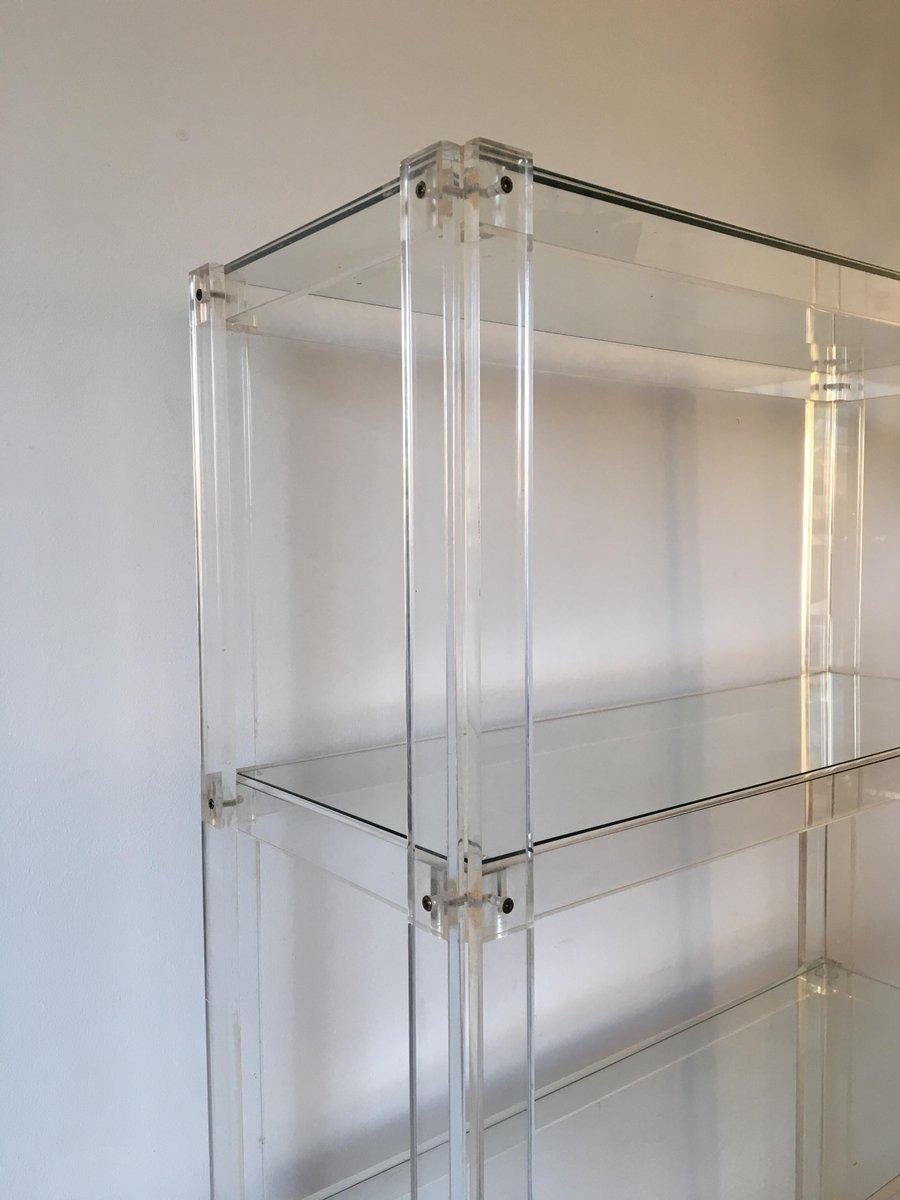niederl ndisches plexiglas und glas b cherregal 1980er bei pamono kaufen. Black Bedroom Furniture Sets. Home Design Ideas