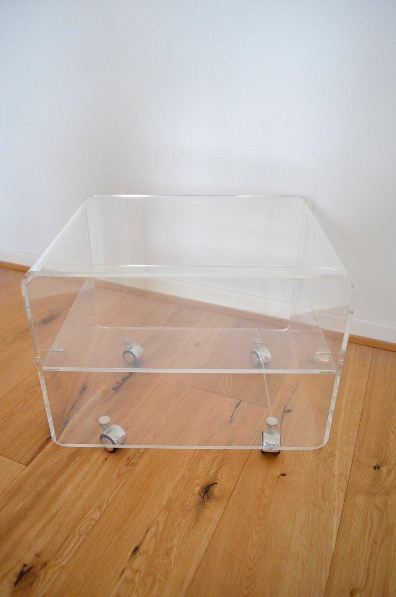 Plexiglas beistelltisch auf rolllen 1970er bei pamono kaufen for Plexiglas beistelltisch