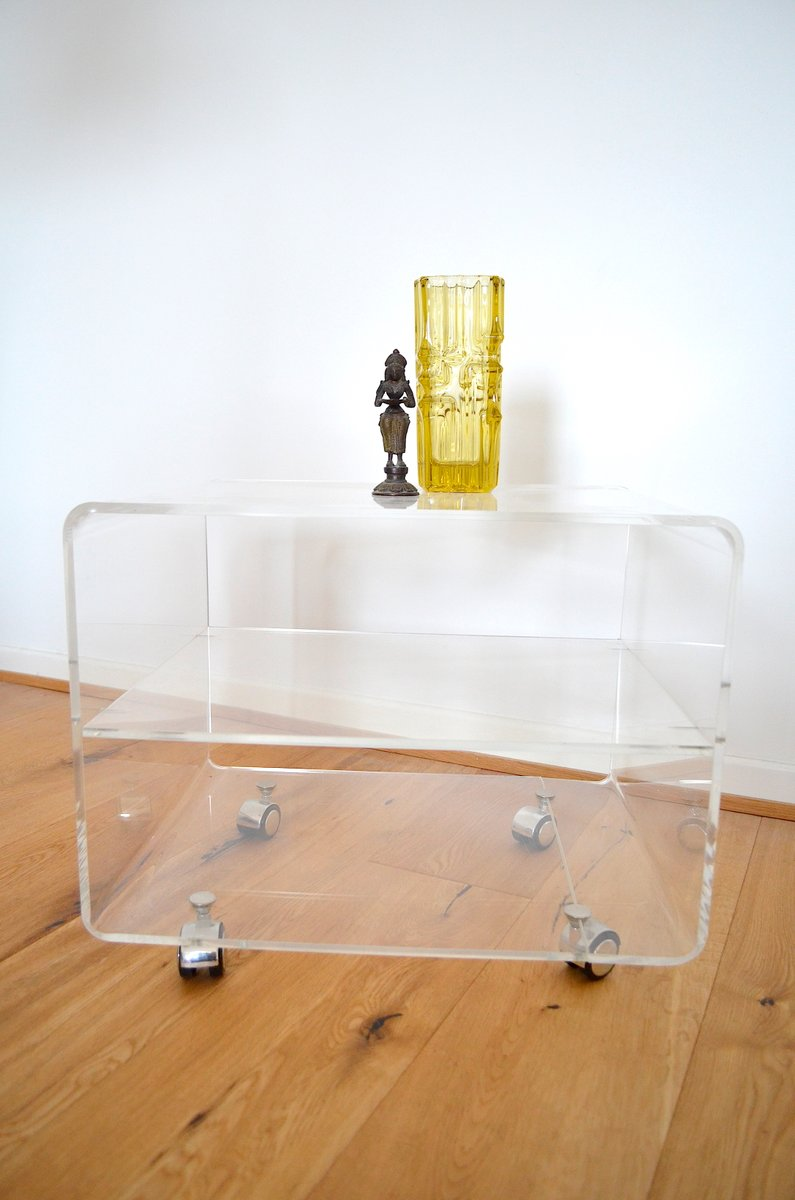 plexiglas side table on wheels 1970s for sale at pamono. Black Bedroom Furniture Sets. Home Design Ideas