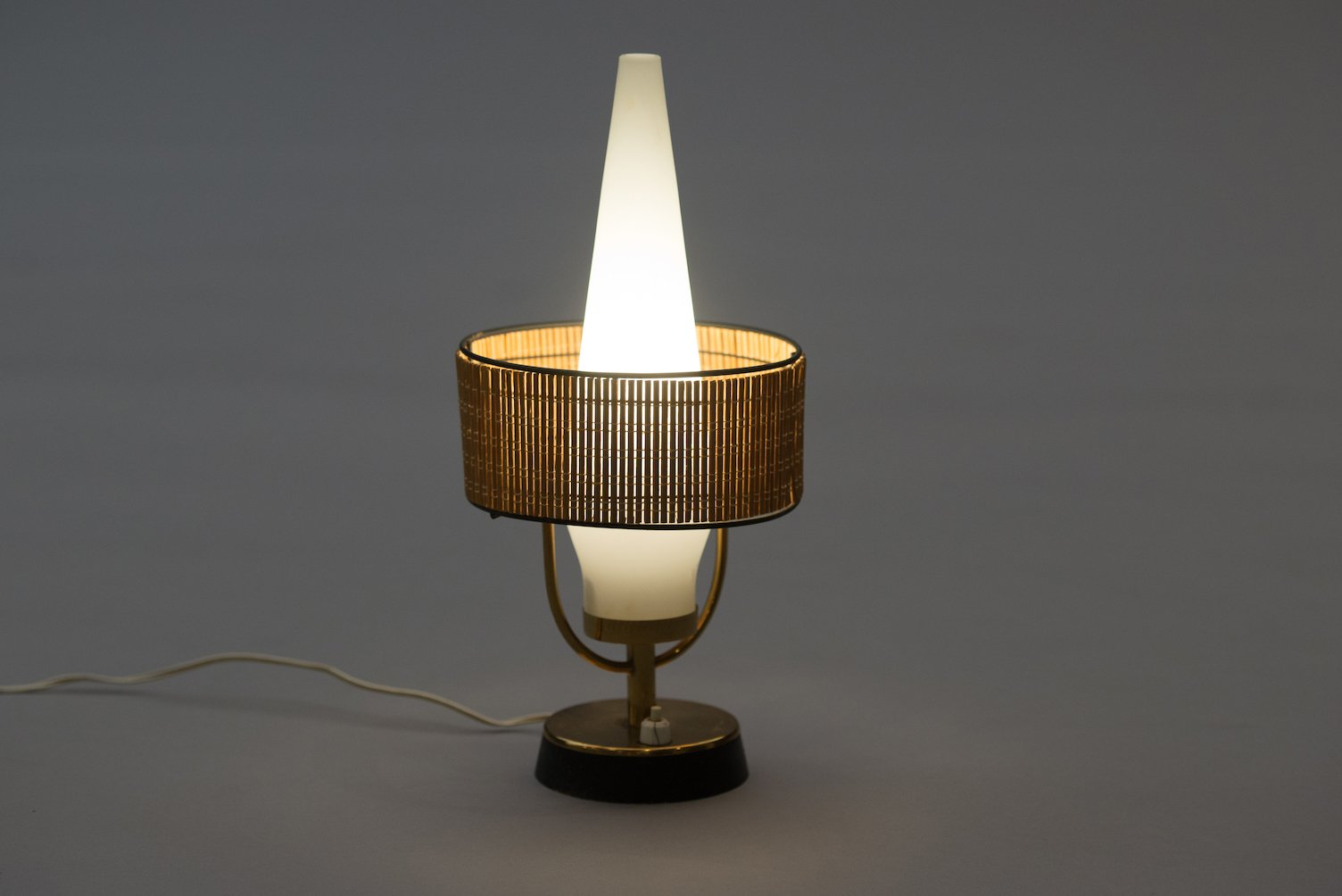 Vintage Italian Table Lamp With Frosted Gl Shade