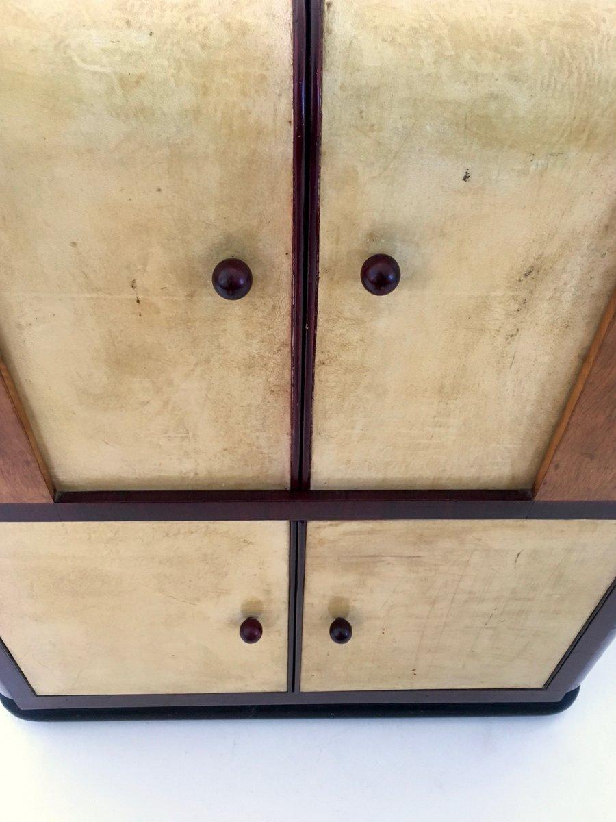 vintage barschrank aus pergament mahagoni bei pamono kaufen. Black Bedroom Furniture Sets. Home Design Ideas