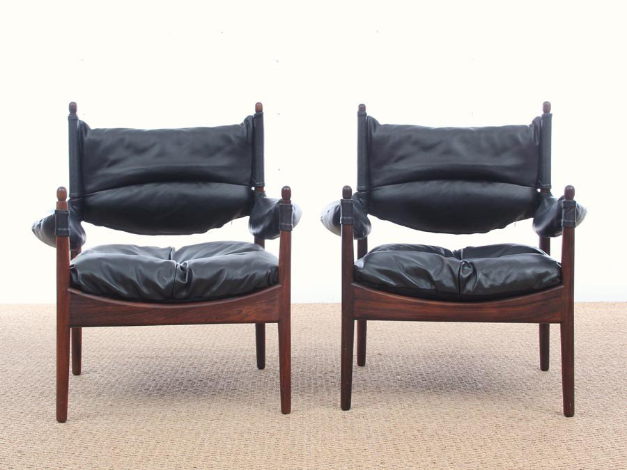 Mid Century Modern Danish Modus Lounge Chairs By Kristian Vedel For Soren  Willadsen, 1963, Set Of 2