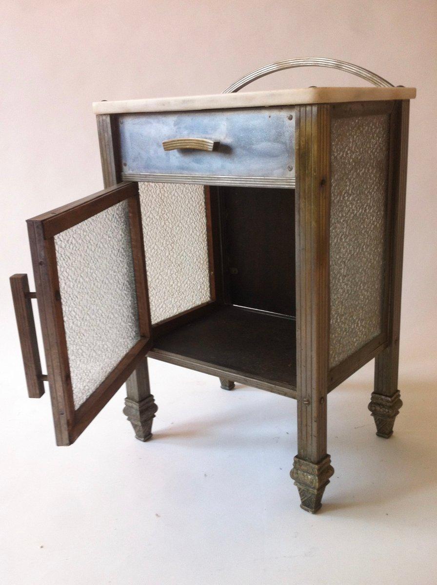 spanischer art deco beistelltisch aus messing nickel glas und marmor 1930er bei pamono kaufen. Black Bedroom Furniture Sets. Home Design Ideas