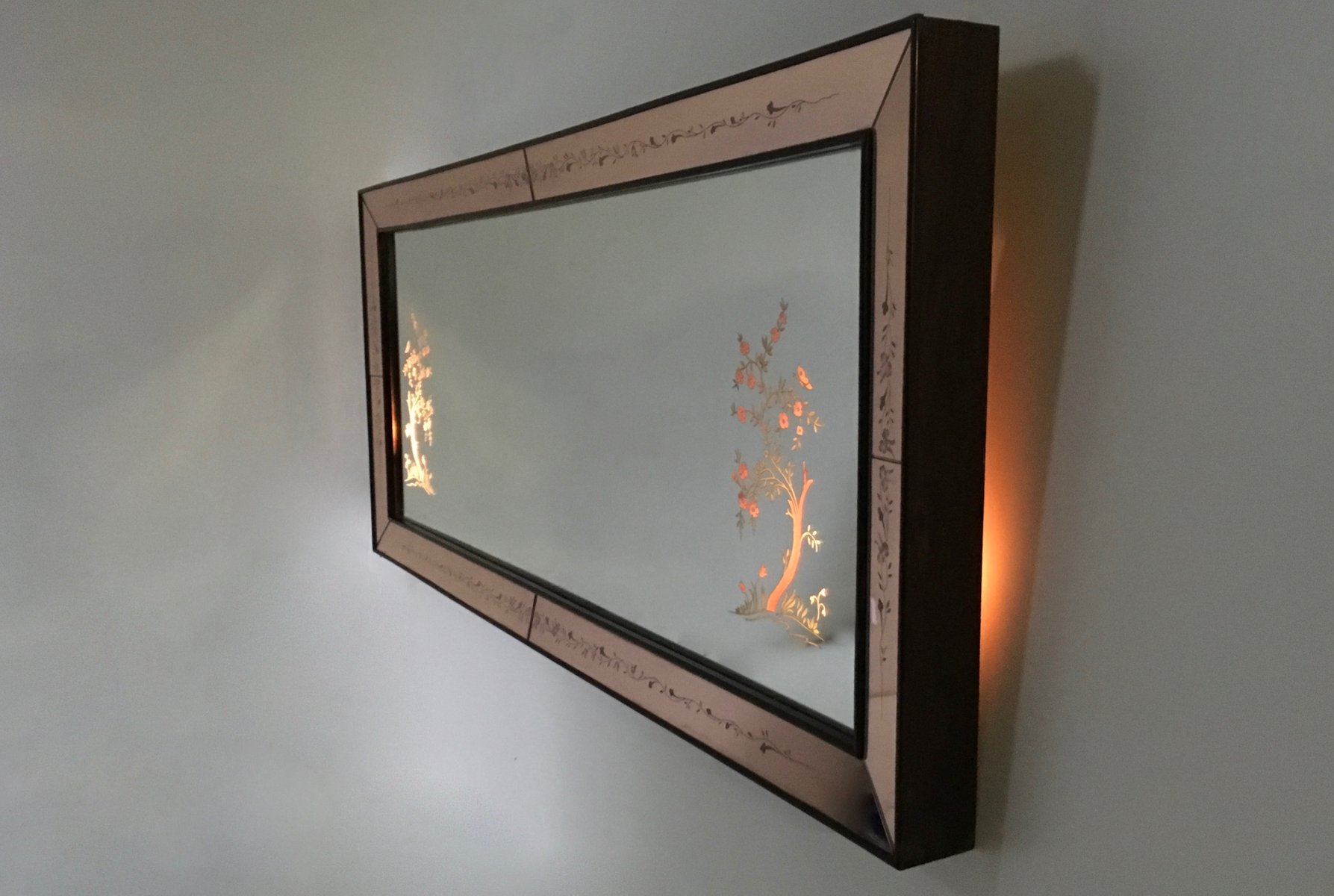 italienischer beleuchteter spiegel 1940er bei pamono kaufen. Black Bedroom Furniture Sets. Home Design Ideas