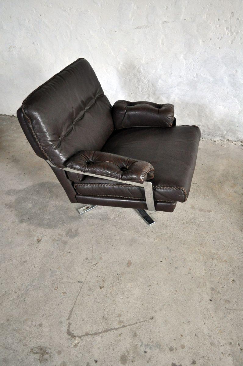 dunkelbrauner vintage sessel aus leder chrom mit hocker. Black Bedroom Furniture Sets. Home Design Ideas