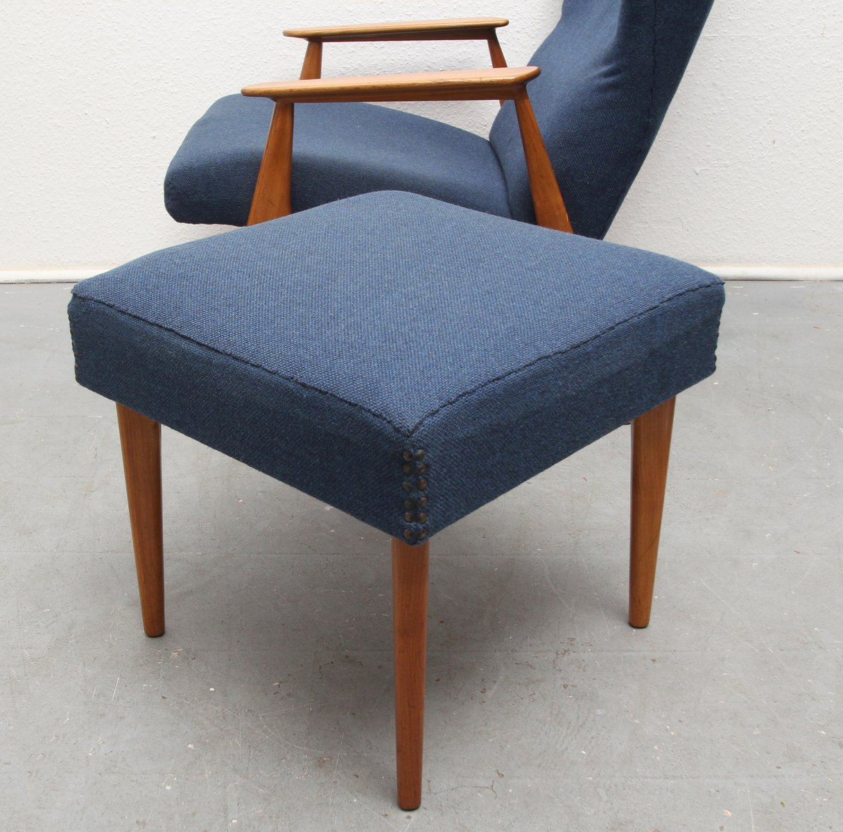 Blue Fabric & Cherry Armchair with Ottoman, 1960s for sale ...