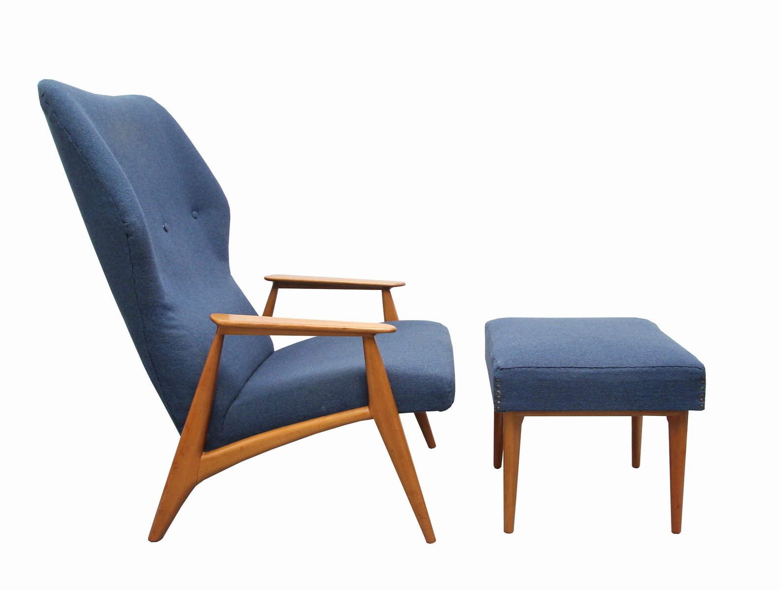 Blue Fabric U0026 Cherry Armchair With Ottoman, 1960s