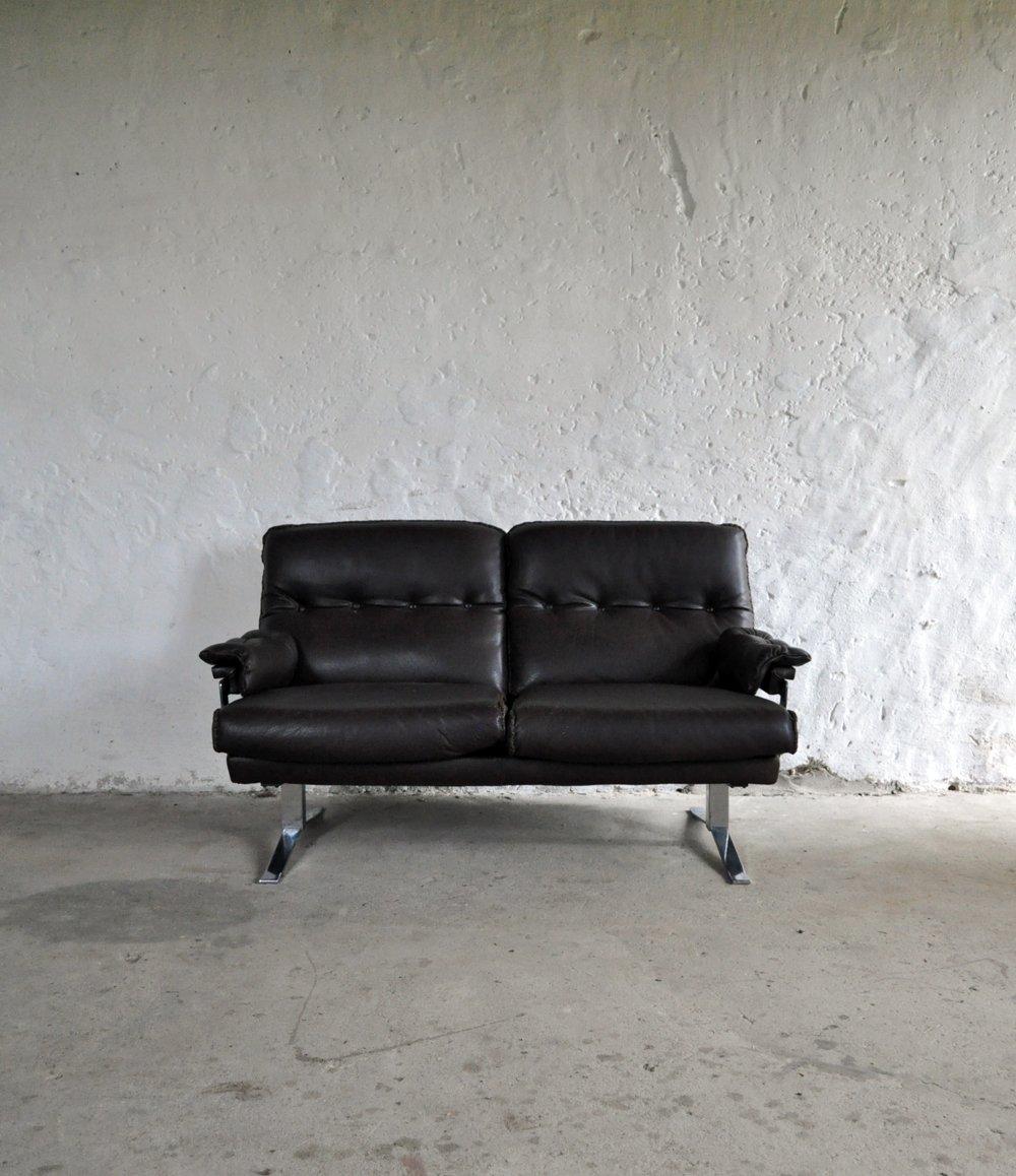 vintage 2 sitzer sofa aus leder chrom von arne norell f r vatne m bler bei pamono kaufen. Black Bedroom Furniture Sets. Home Design Ideas