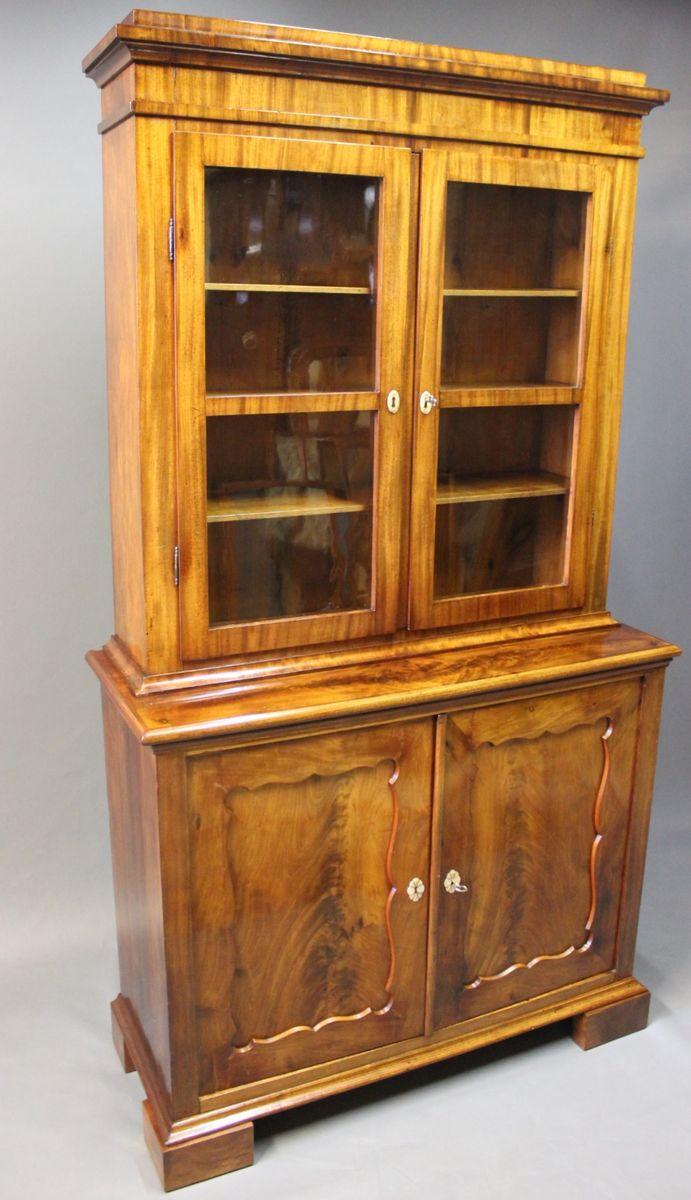 High Quality Large Mahogany U0026 Glass Cabinet, 1830s