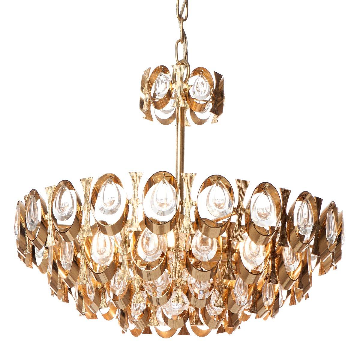 Six light crystal glass and gilt brass chandelier by sciolari for six light crystal glass and gilt brass chandelier by sciolari for palwa arubaitofo Choice Image