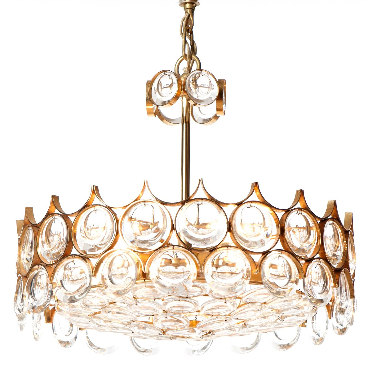 Mid century five light cut crystal glass gilt brass chandelier mid century five light cut crystal glass gilt brass chandelier from palwa mozeypictures Choice Image