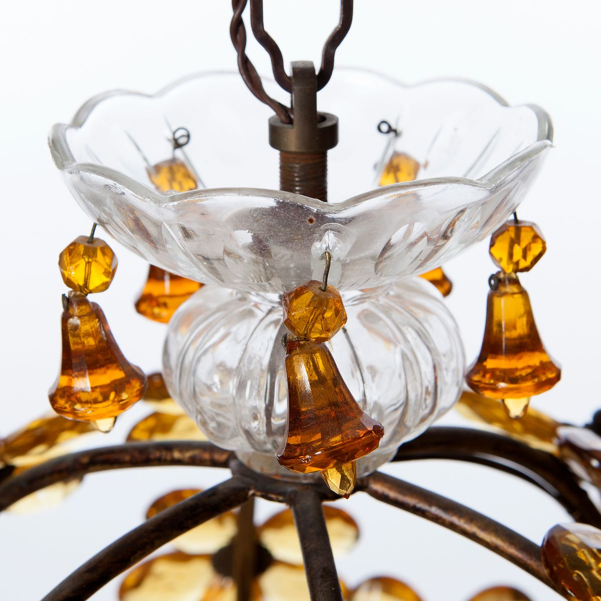 bernsteinfarbene vintage h ngelampe aus kristallglas messing bei pamono kaufen. Black Bedroom Furniture Sets. Home Design Ideas