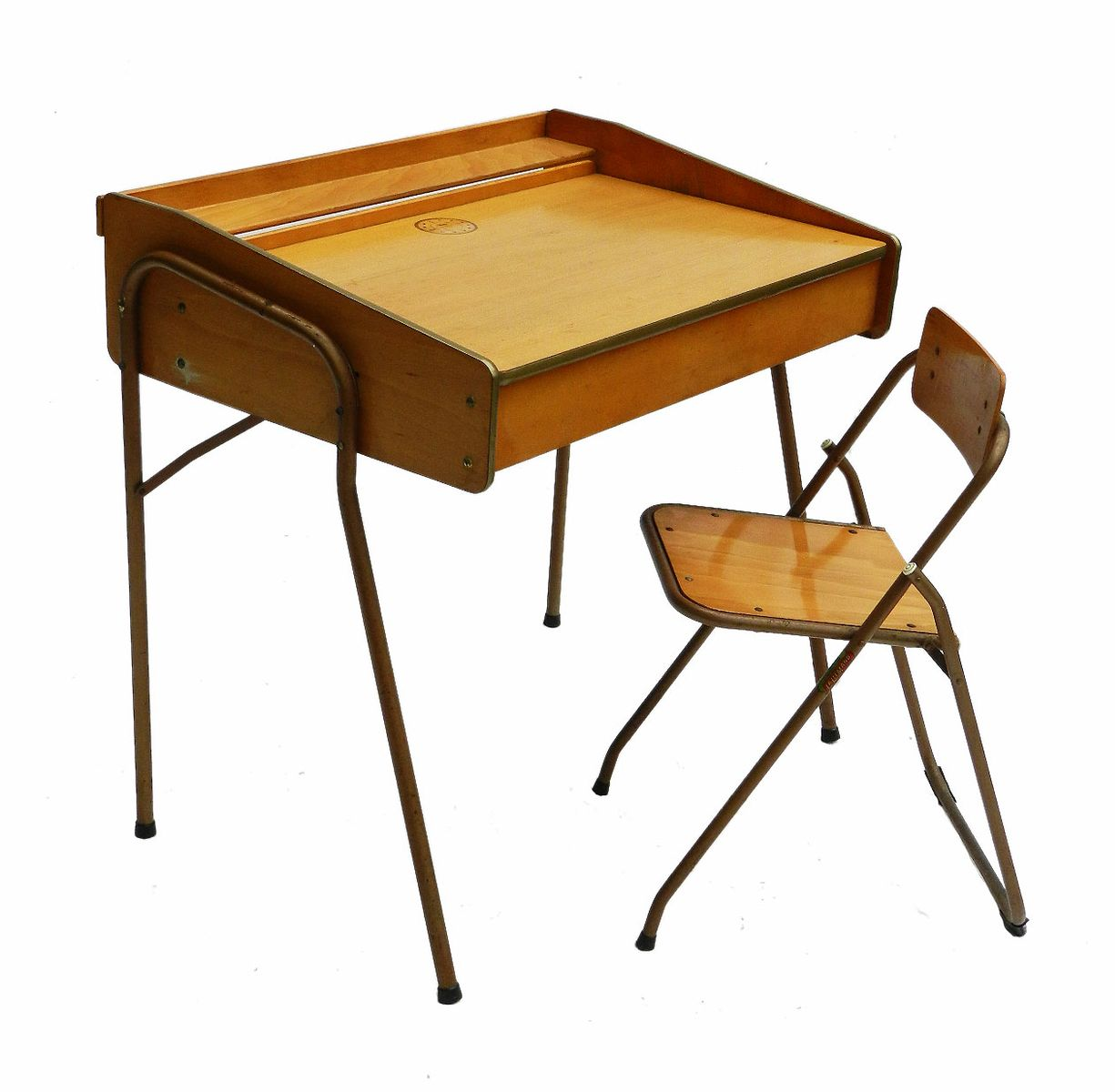 French Mid Century Childs Desk And Folding Chair From Brevete Lallemand For At Pamono