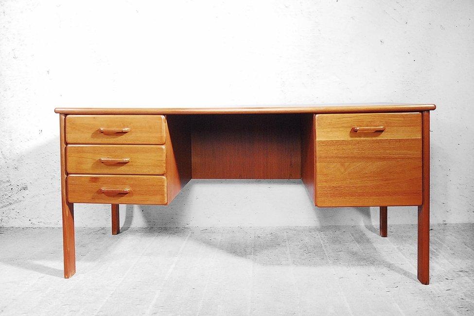d nischer teak schreibtisch mit stuhl 1970er bei pamono. Black Bedroom Furniture Sets. Home Design Ideas