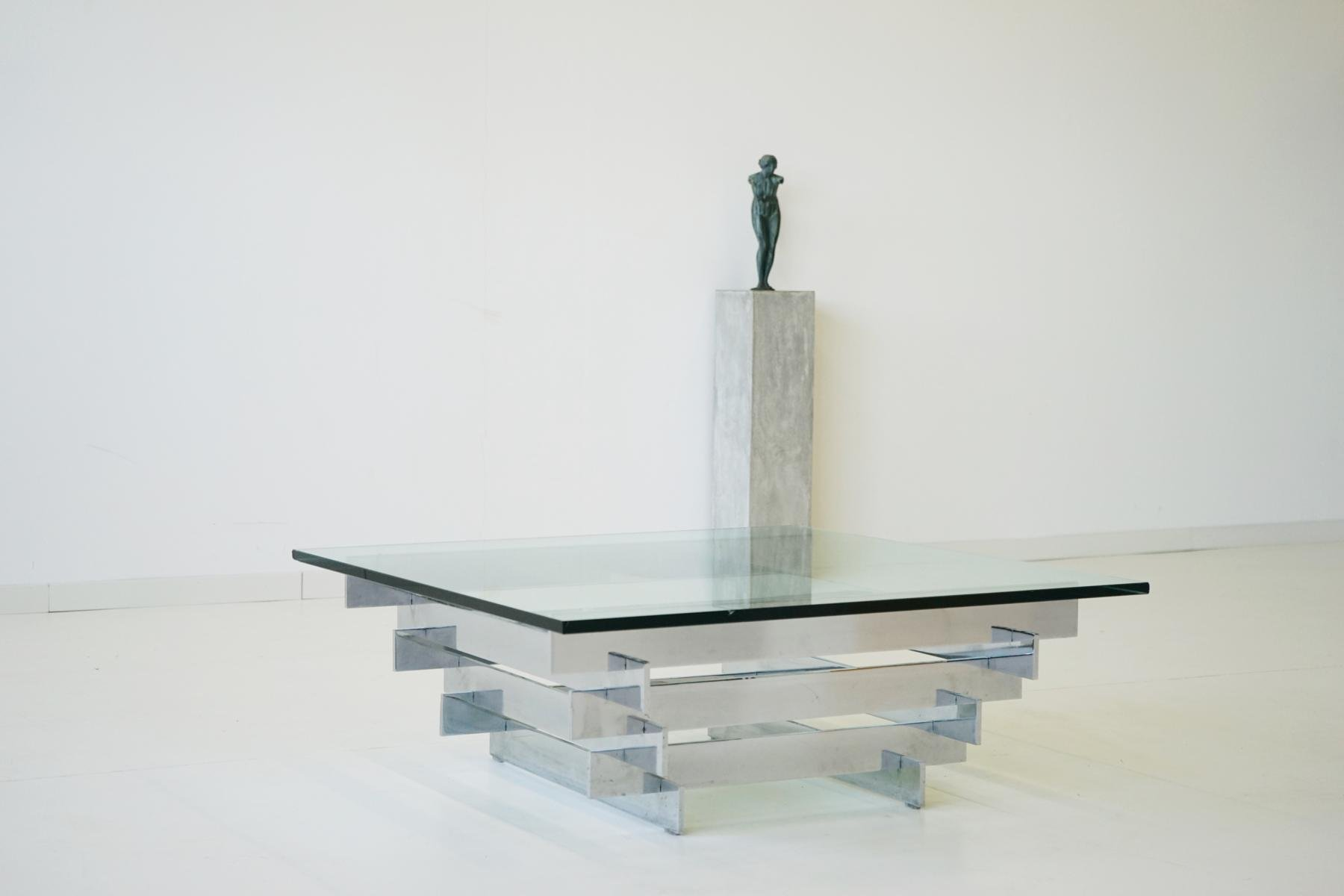 Elegant Vintage Glass U0026 Chrome Coffee Table By Zaruch