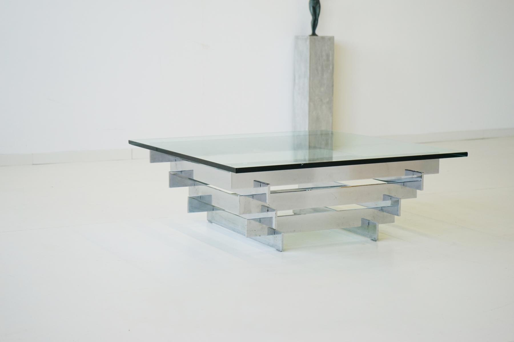 Merveilleux Vintage Glass U0026 Chrome Coffee Table By Zaruch For Sale At Pamono