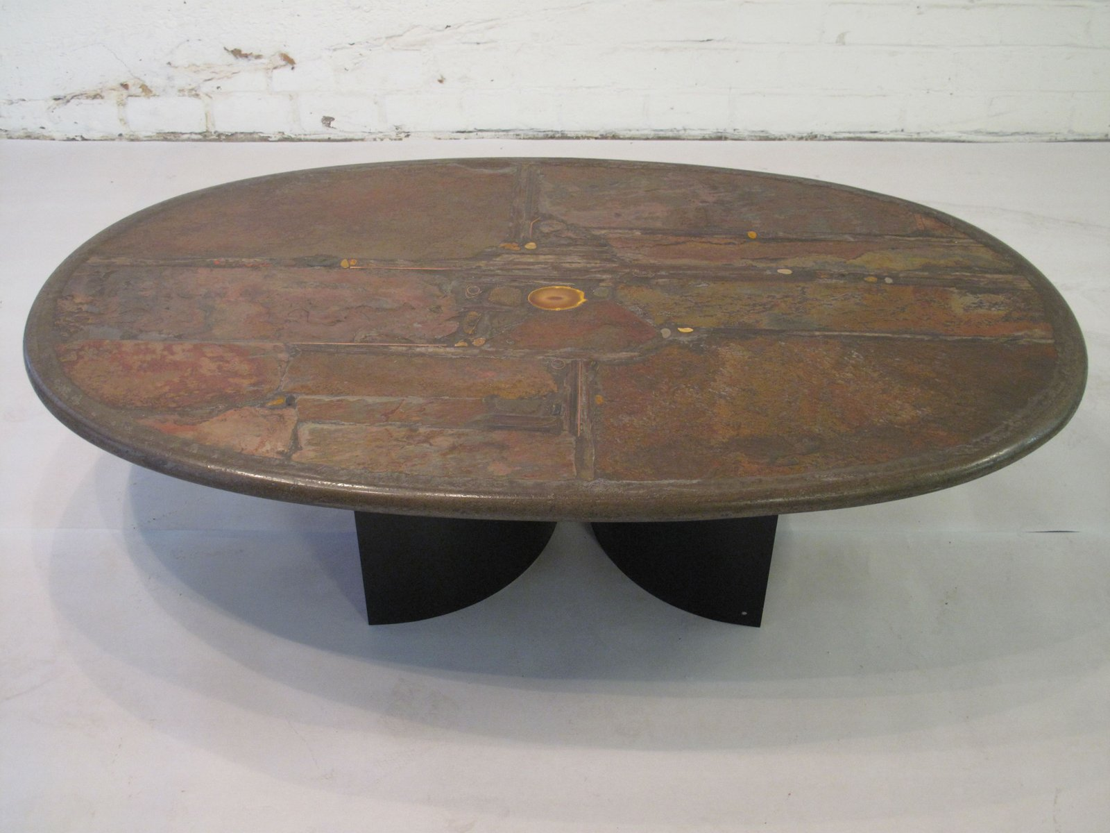 Stone Shale Brass Copper and Agate Coffee Table by Paul Kingma
