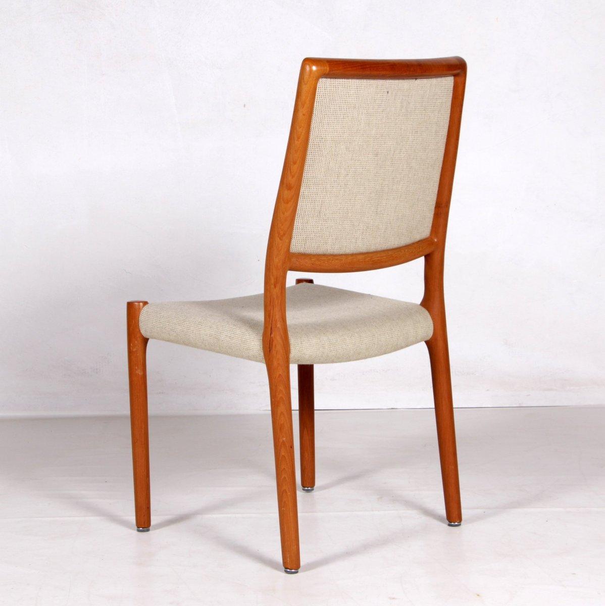 st hle aus teakholz stoff von niels otto m ller f r j l m llers 1960er 4er set bei pamono. Black Bedroom Furniture Sets. Home Design Ideas