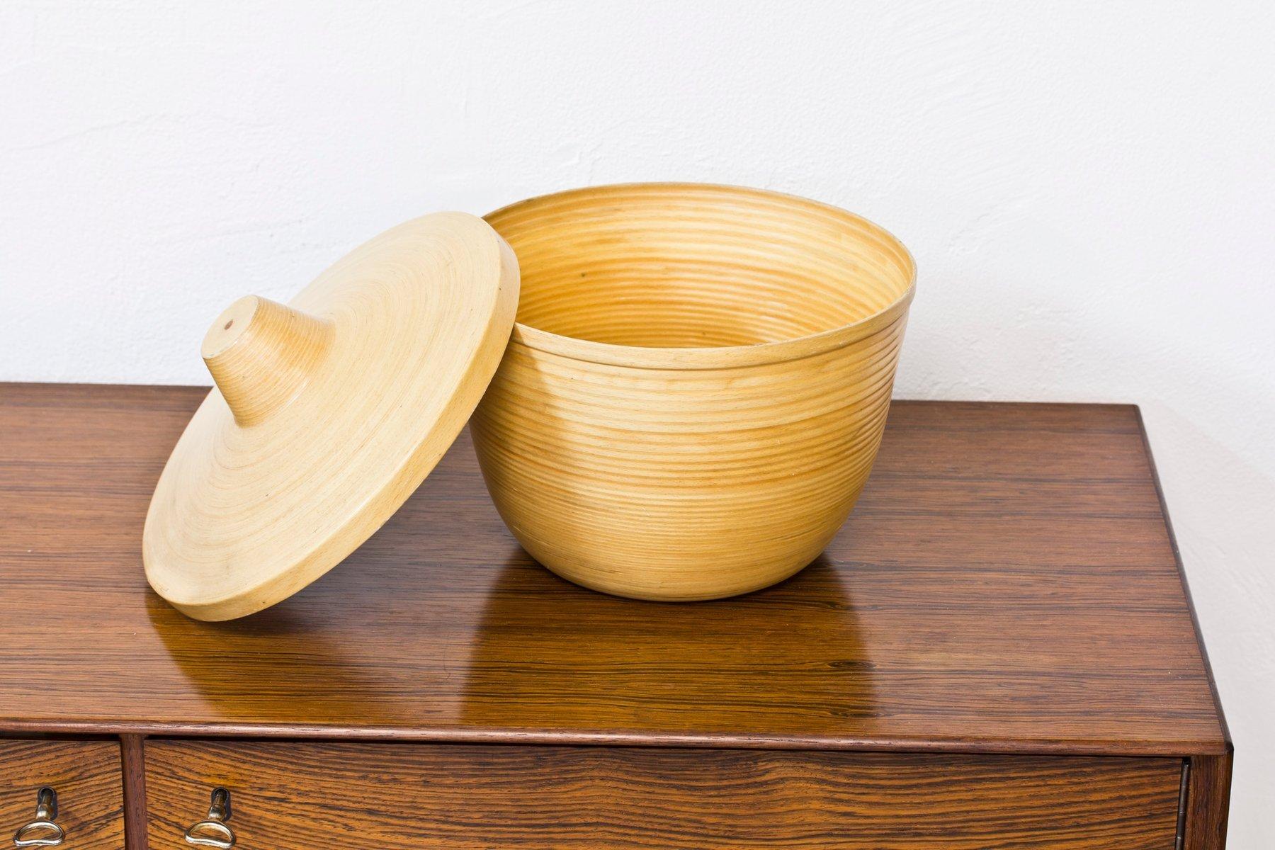 japanischer bambus eschenholz beh lter mit deckel 1950er bei pamono kaufen. Black Bedroom Furniture Sets. Home Design Ideas