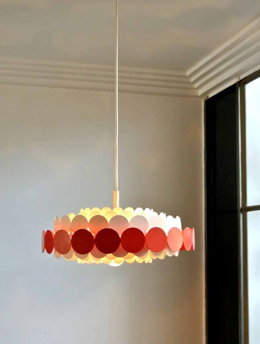 Metal suspension light from doria lichtenwerken 1960s for for Suspension metal