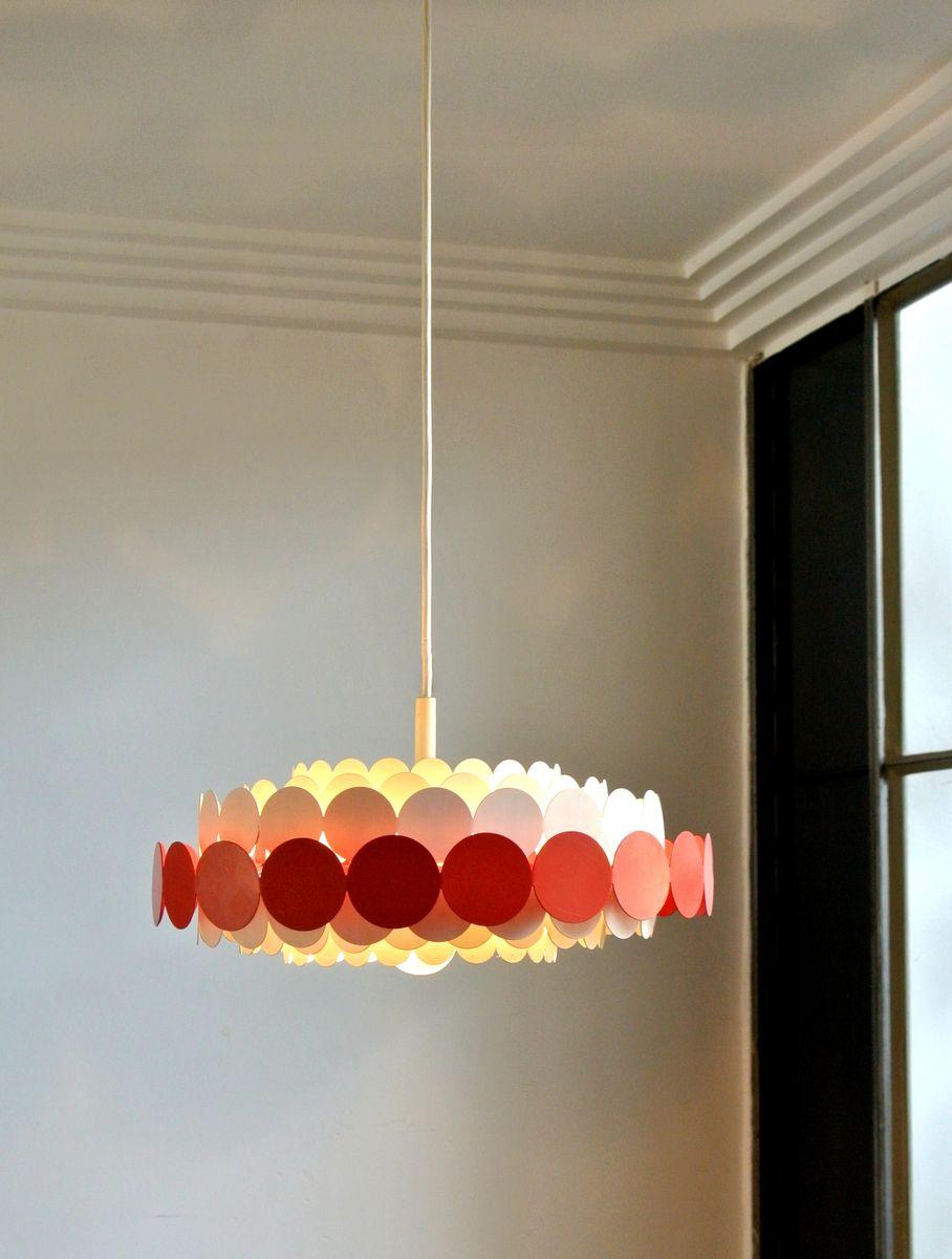 Metal suspension light from doria lichtenwerken 1960s for for Suspension metal