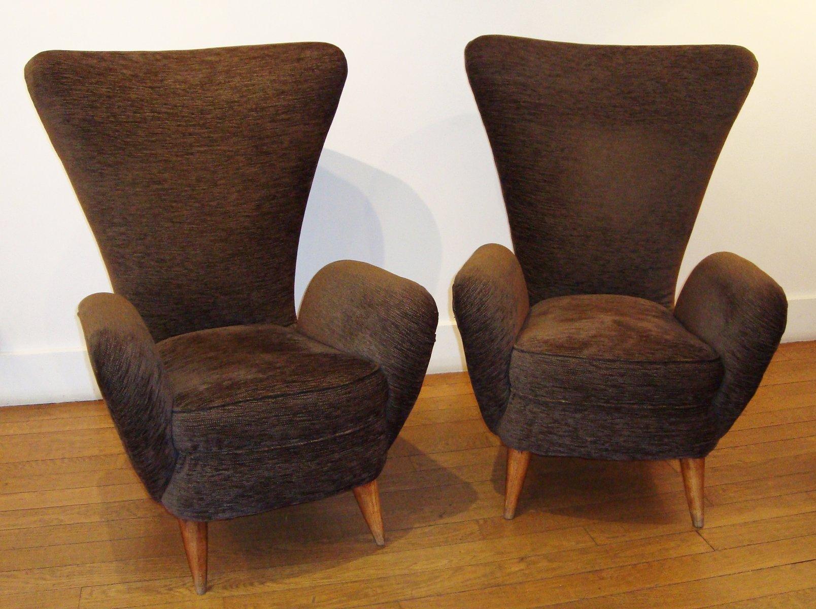 italienische sessel aus eiche braunem samt 1950er 2er set bei pamono kaufen. Black Bedroom Furniture Sets. Home Design Ideas