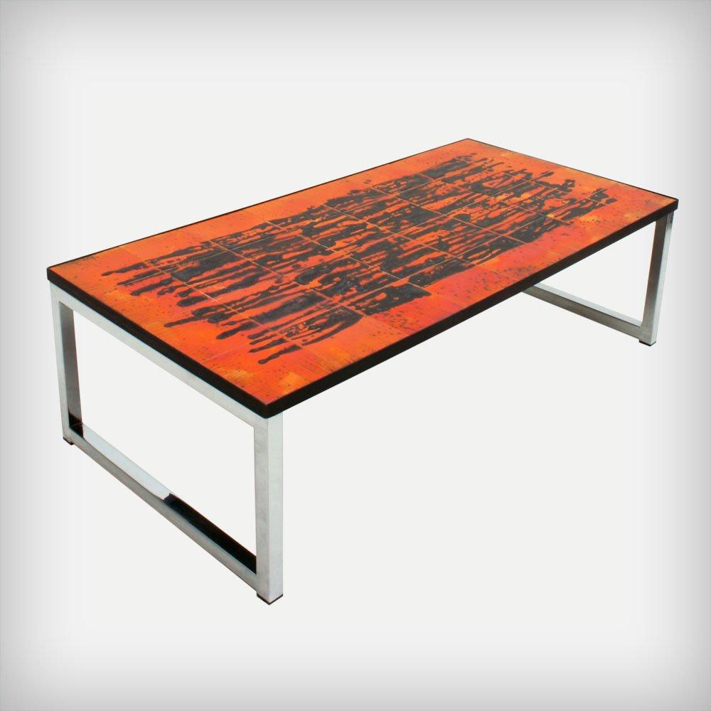 Belgian Ceramic & Chrome Coffee Table By Juliette Belarti