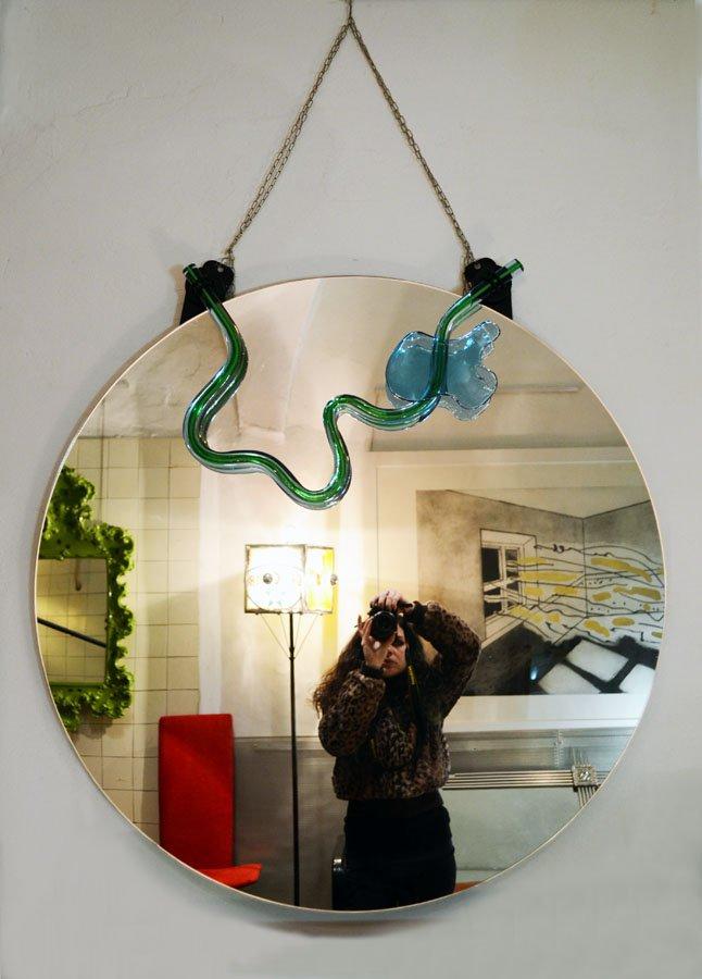 spiegel mit murano glas verzierung von nanda vigo f r morphos 1985 bei pamono kaufen. Black Bedroom Furniture Sets. Home Design Ideas