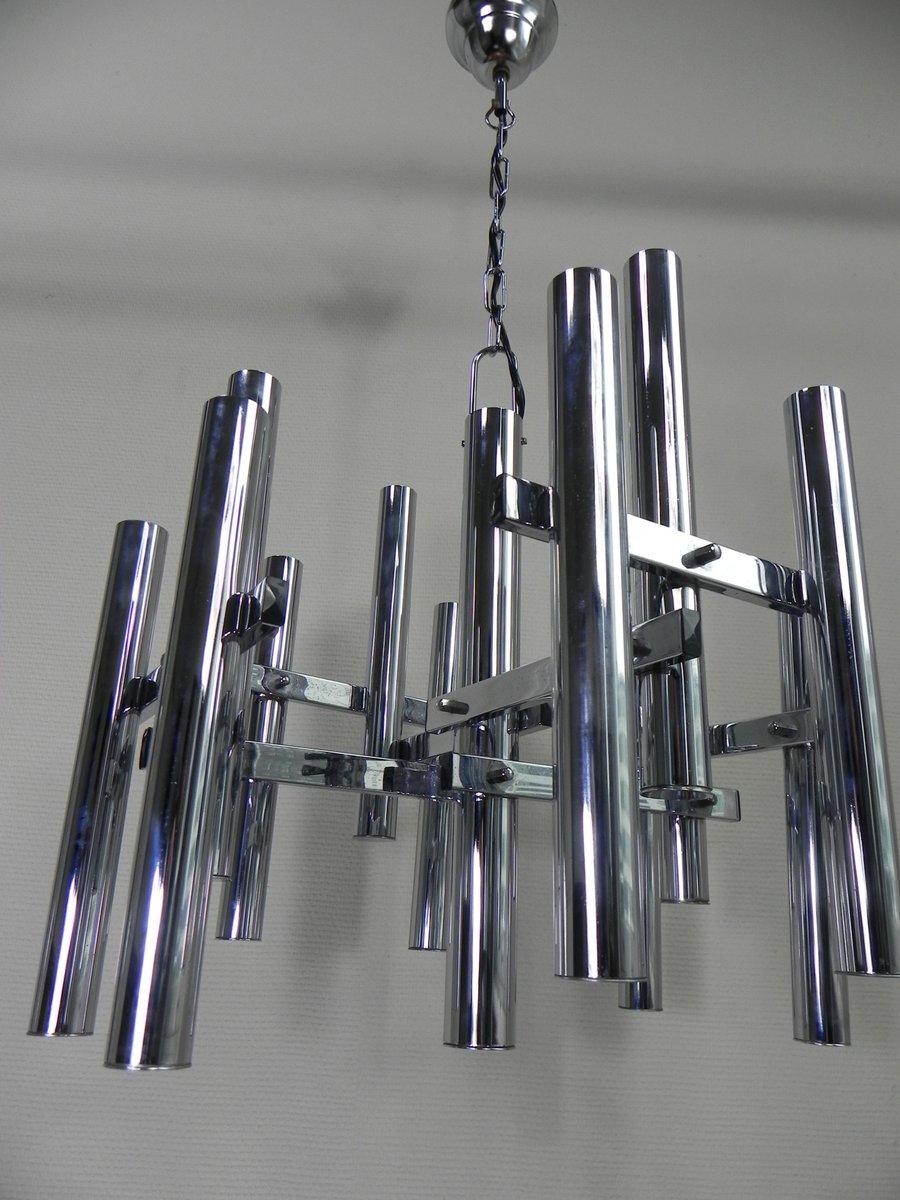 belgische vintage lampe aus chrom mit 12 leuchten bei. Black Bedroom Furniture Sets. Home Design Ideas