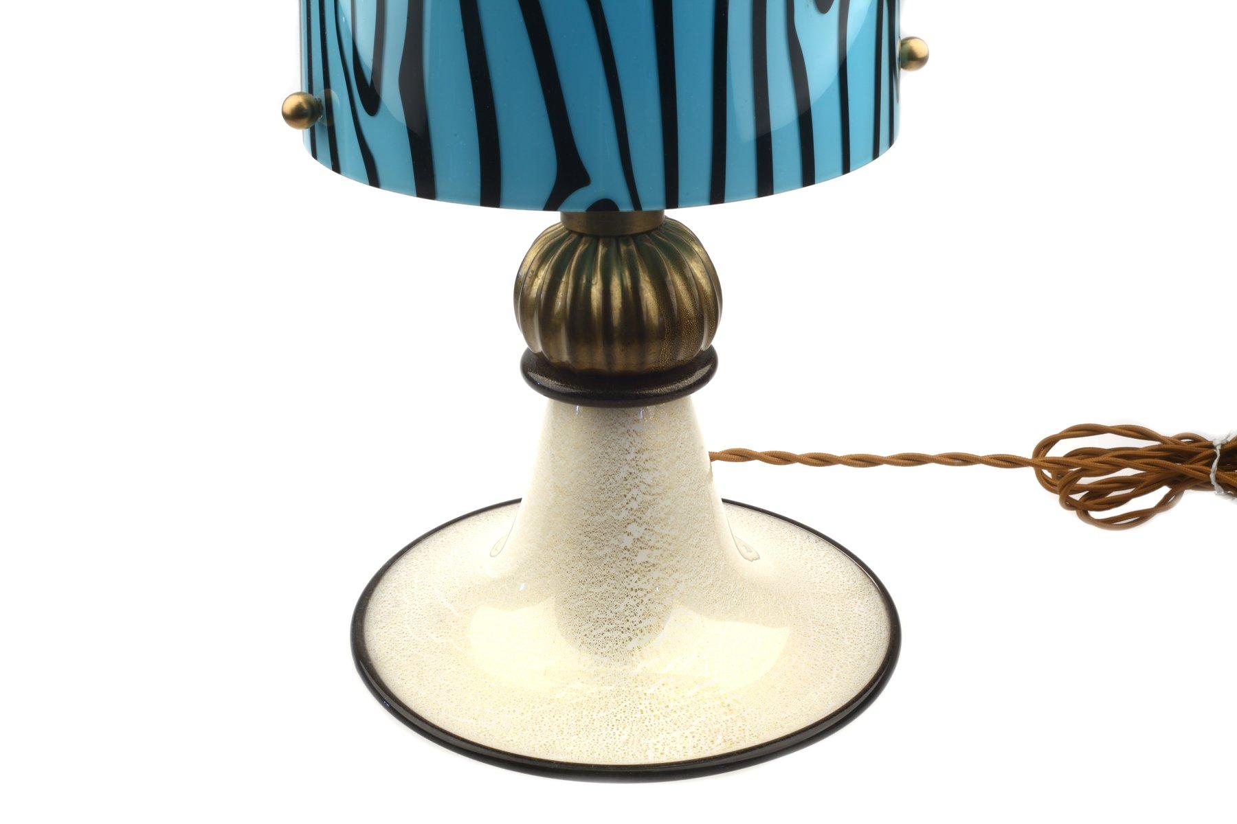 murano glas tischlampe mit blattgold fu bei pamono kaufen. Black Bedroom Furniture Sets. Home Design Ideas