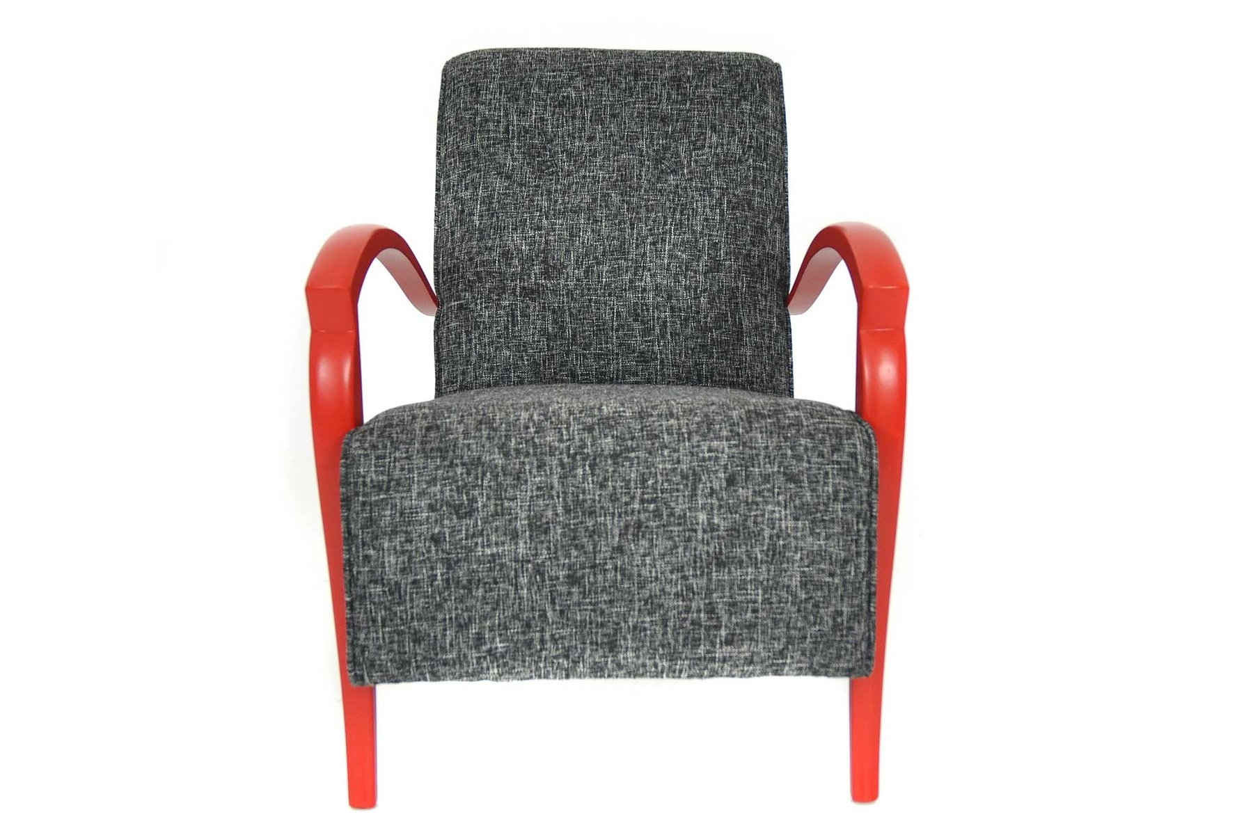 fauteuil rouge et gris france 1950s en vente sur pamono. Black Bedroom Furniture Sets. Home Design Ideas