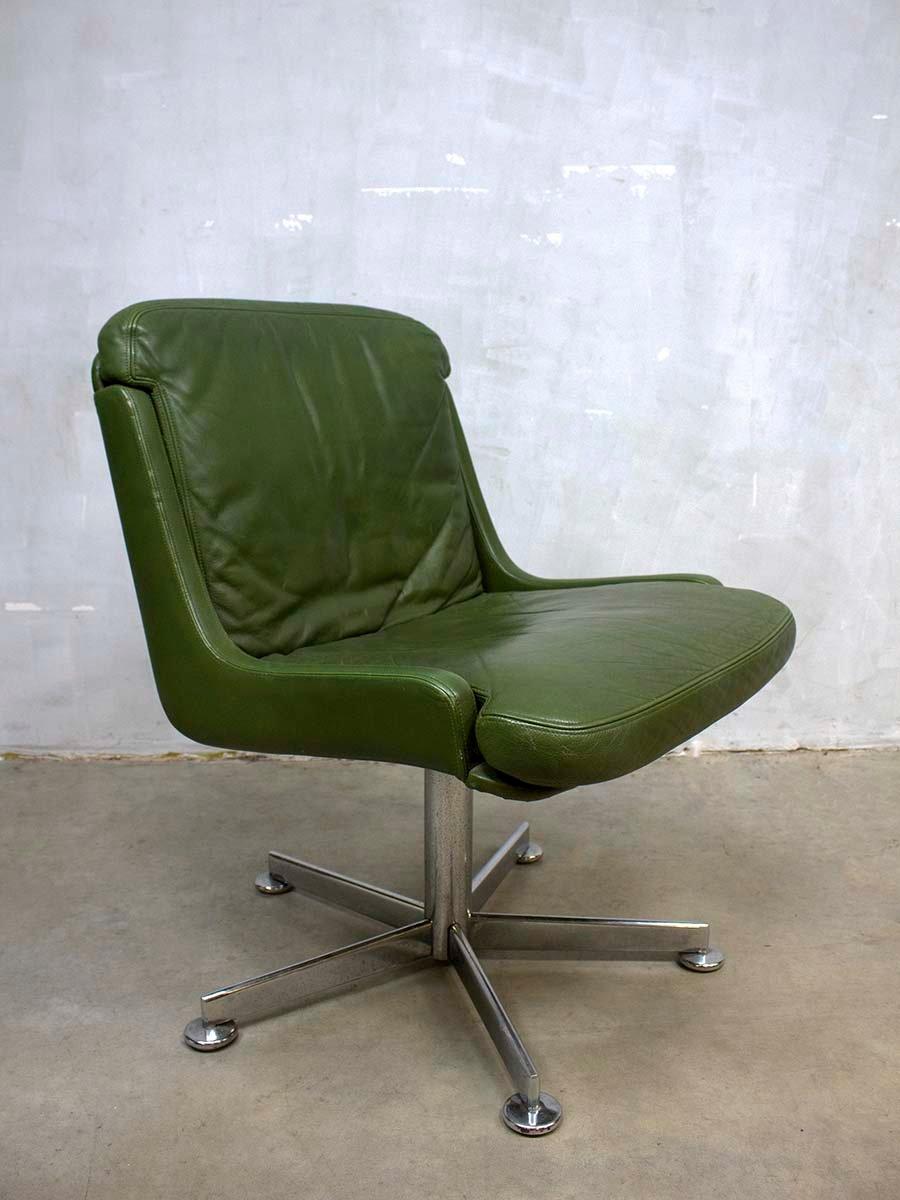 vintage b rostuhl aus olivgr nem leder bei pamono kaufen. Black Bedroom Furniture Sets. Home Design Ideas