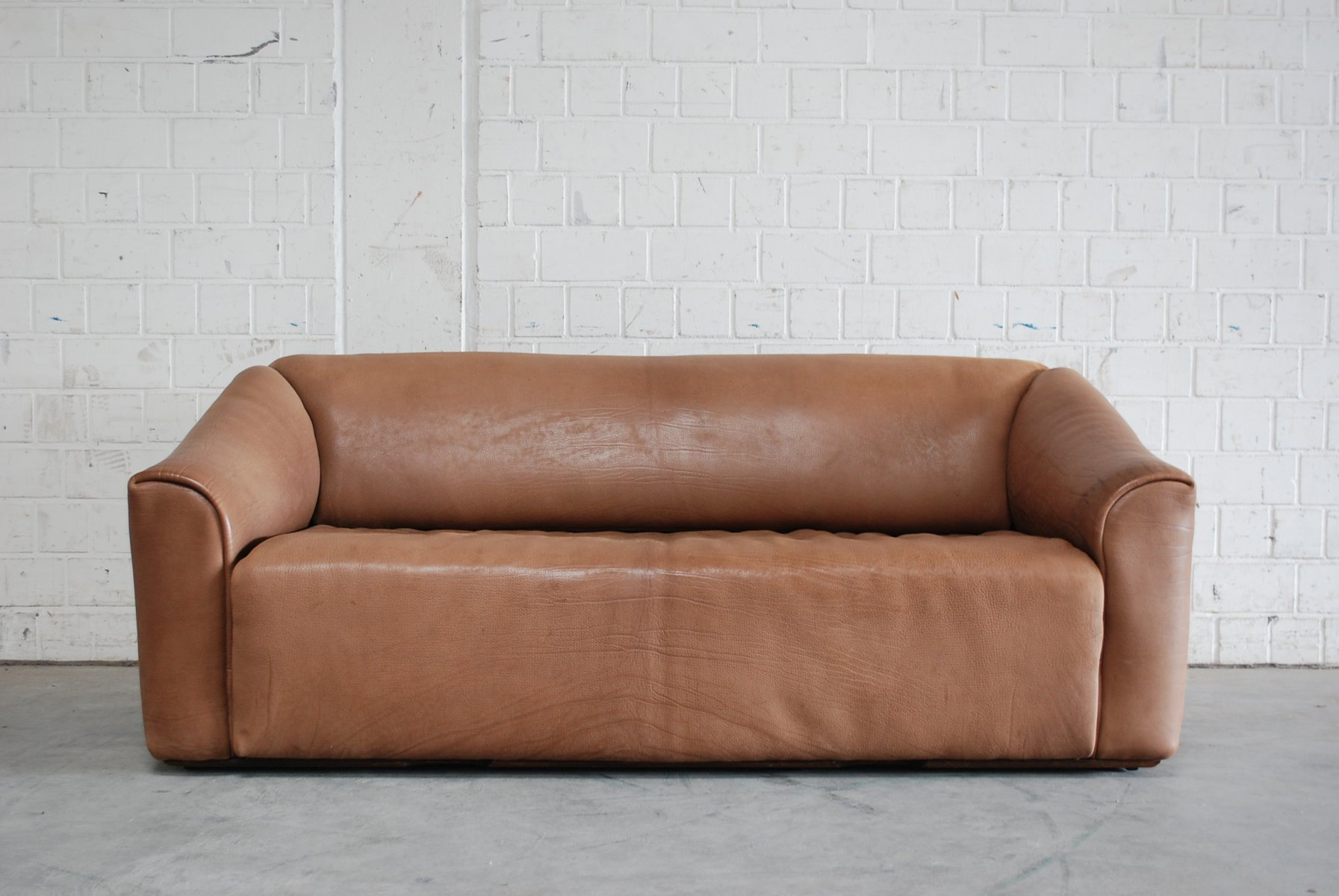 Vintage DS 47 Three Seater Cognac Leather Sofa From De Sede